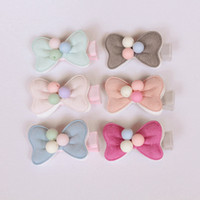 Wholesale Hair Clip Cloth - 20pcs lot 2016 New Arrival Small Bow Baby Girl Hair Clip Light Pink Double Level Hair Bow With Beads Kids Hairpins Solid Cloth