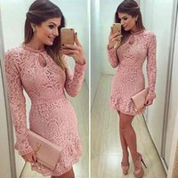 Wholesale Dresses Casual Short Ladies - Womens Bodycon Cocktail Lace Dress Ladies Evening Party Short Mini Round Collar Long Sleeve Pink Hollow