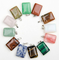 Wholesale Natural Stone Semi Precious - New Arrival 20x15mm Rectangle Shape Semi-Precious Natural Stone Beads Pendants Charm For Necklace Making Jewelry Accessory
