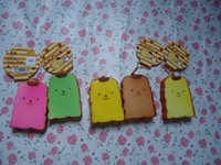 Wholesale Squishy Cartoon Toasts - Wholesale- 30pcs lots 7cm cute cartoon pudding dong toast squishy with tags