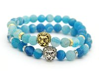 Beaded, Strands blue agate bracelet - 2016 Mens Jewelry mm Sky Blue Weathering Agate Stone Antique Silver Real Gold Plated Lion Head Bracelets