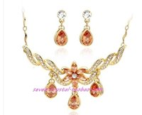 Wholesale Earings Color Diamond - two color diamond crystal flower bride wedding set necklace earings uouou