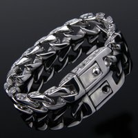 """Wholesale Silver Chains For Men 12mm - Hot Sale Silver 316L Stainless Steel Bracelet Popular Gift For Men 8.66"""" 12mm Free Shipping"""