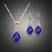 Wholesale Lowest Price Wedding Suit - 2017hot sale new arrival lowest price environmental protecition alloy crystal necklace earrings suit factory shop wholesale