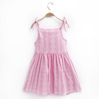 Wholesale 3t Holiday Dresses - summer kids girl dress sling flower beach cotton causal girl party holiday pink princess dress