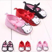 Wholesale Girls Canvas Shoes Cartoon - Wholesale- TongYouYuan Cartoon Newborn Baby Kids Prewalker Footwear Princess Girls Hello Kitty Blingbling Soft Soled Anti-slip Shoes