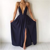 Wholesale Sexy Party Dresses New Arrival - New arrival split maxi dress dark blue solid sexy deep v neck evening party elegant clubwear spaghetti strap dresses