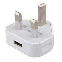 cargos domiciliarios al por mayor-Real 5V 1A cargador de pared USB Reino Unido adaptadores Reino Unido enchufe inicio viaje Cargador 3 pin conector de pierna USB adaptador de corriente carga para iphone 5 6S s6 s7 JBD-UK