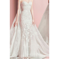 Compra Dettagliata Sirena Abito Da Sposa-Petra Sweetheart Slim Mermaid Abito da sposa con dettagli di perline di cristallo Sopra Gonna e parte superiore staccabile Train Fahion 2016 MEA2