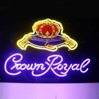 Wholesale Indoor Signs - Crown Royal-shaped DIY Glass LED Neon Sign Flex Rope Light Indoor Outdoor Decoration RGB Voltage 110V-240V