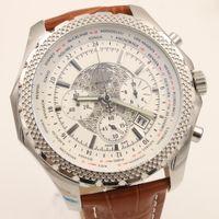 Wholesale Luxur Watches - Top luxur watch men Quartz Chronograph Watch Super large white case Wide Brown Leather Watchband StopWatch fashion mens watches