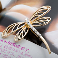 Wholesale dragonfly rhinestone brooch - 2016 Distinctive Dragonfly Brooch For Women&Man Exquisite Alloy Crystal Brooch Pin For Wedding&Party Vintage Scarf Clip