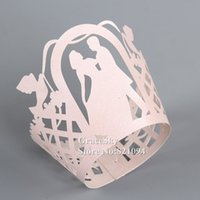 Wholesale Holiday Cupcake Wrappers - 100pcs*Free Shipping Laser Cut Boyand Girl Dancing Paper Cupcake Wrapper Liner for Wedding Christmas Birthday Party muffin Holder Decoration
