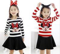 Wholesale Baby Red Stripe Dress - New Arrival Baby clothing Baby Girl Mickey Stripe Dress 2016 Autumn Spring Long Sleeve Cotton Dress Sequins Pattern