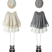 Wholesale Children S Jumpers - New Autumn Europe Fashion Baby Girls Cape Sweaters Kids Knitted Pullovers Tops Tassels Knitwears Children Ponchos Sweaters Apricot Gray 1213