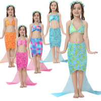 Wholesale Wholesale Boutique Swimsuits - 2017 Belle Mermaid Swimwear Girl Childrens Clothing Sets Bikinis Swimsuit Strapless Tail Bathing Suit Bikini Girl Kids Boutique Clothes