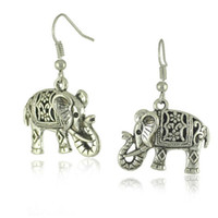Wholesale gold elephant earrings - Vintage Women's Ear Stud Unique Tibetan Silver Filigree Carved Elephant Drop Dangle Earrings Jewelry Earing Earring Ear Ring Accessories