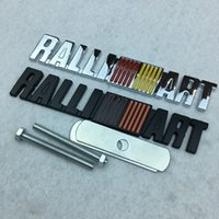 Wholesale Ralliart Emblem - 10PCS Metal Ralliart Grille Emblem Front Grill Badge for Mitsubishi ASX Lancer 9 10 Pajero Outlander Styling Wholesale Accessory