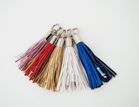 Wholesale Keyring Charger - 20pcs USB Cable Leather tassel Keychain mini USB Cable fast charger Metal keyring Data cable cord charging adapter for iPhone 5 5S 6 Android