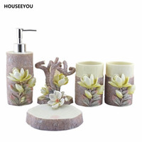 Wholesale resin dispenser - Bathroom Accessories Resin Creative Lily Toothbrush Holder Bathroom Tool Cup Holder Lotion Dispenser Soap Dish Tumblers 5Pcs  Set