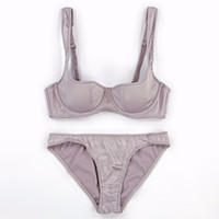 Wholesale Bra Push Up 34 - Satin smooth women sexy bra brief set 1 2 cup thin cotton cup fashion lady brassiere sets push up euramerican lingerie suit
