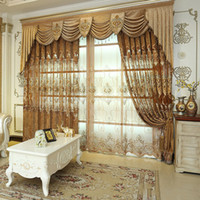 Wholesale Valances For Windows - Luxury European Style Living Room Bedroom Embroidery Curtain Fashion Floral Curtains For Home Hotel High Quality Curtain #Valance