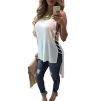 Wholesale Cheap White High Tops Wholesale - Wholesale-HOT New 2016 Summer Sexy Womens Sleeveless Hollow Out High Low Tank Tops Vintage Bandage Blouse Casual Loose Vest Shirt Cheap Z2