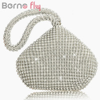 All'ingrosso- Berno fly Rhinestones Women Clutch Bags Diamonds Anello da dito Ladies Vintage Evening Bag Crystal Wedding Bridal Handbags Purse