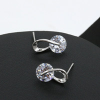 Wholesale Earings Diamond Silver - Beauty White CZ Cubic Zirconia Stud Earrings Trendy Earings Christmas Gifts 925 Silver Plated Fashion Diamond Jewelry