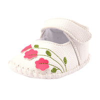Wholesale toddler white canvas shoes wholesale - Wholesale- Baby Prewalkers Toddler Girl Walking Shoes Flower Embroidered Soft Shoes Prewalker White Pink