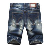 Wholesale Men S Comfortable Jeans - Wholesale-Summer Style Brand Denim Jeans Comfortable Holes Breathable Straight Jeans Knee Length Cotton masculina jeans Plus Size 28-40