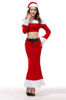 Wholesale Ladies Uniform Skirts Sexy - Lady Sexy Mermaid Santa Suit Christmas Fancy Dress X'mas Cosplay Costume Uniform Tops Long Skirt