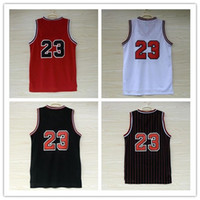 Wholesale Cheap Top Shirts - Top quality #23 Jerseys Classical Black Red White Basketball Jersey Men Sports wear embroidered Logos Cheap sports shirts