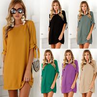 Wholesale Yellow Puff Sleeve Shirt - Summer Women Casual T-Shirt Short Sleeve Women's Solid Dress Ladies Clothing Crew Neck Mini Dresses