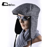 Wholesale Fold Beret - Wholesale-2015 man modified version of Lei Feng cap beret lengthened ear warm winter hat can be folded to strengthen peaked cap