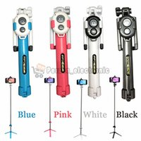 Wholesale Telescopic Aluminium - Universel Selfie Stick with Tripod Stand Bluetooth Remote Shutter Aluminium Telescopic Monopod free shipping For iPhone Samsung 50pcs lot