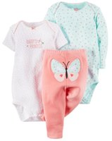 Wholesale Young Girls Clothing - 2016 baby clothes baby girl clothes romper autumn Infants and young children long sleeve short sleeve triangle, three-piece suit