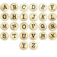 Wholesale Crystal Letters Wholesale China - Newest Women and Men Crystal Gold Metal Initial A-Z Alphabet Letter Snap Button Jewelry For Bracelet (fit 18mm 20mm snap) 26pcs AC304