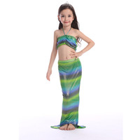 Wholesale Metallic Blue Bikini - Cuhk child Lovely Mermaid Tail Swimwear KIDS girl summer Mermaid Bikini Set 3PCS Bathing Beach Swimsuit Wear15colors & 6size choose