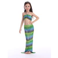 Wholesale Metallic Swimwear Bikini - Cuhk child Lovely Mermaid Tail Swimwear KIDS girl summer Mermaid Bikini Set 3PCS Bathing Beach Swimsuit Wear15colors & 6size choose