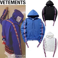 Wholesale Long Black Hooded Cardigan - New Loves Hip Hop Hooded VETEMENTS Hoodie Oversize Wandering Embroidered Men Women Plus Cashmere Loose Black White Blue Hoodie M-2XL