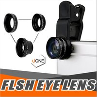 Wholesale zoom fishing - 3 In 1 Universal Metal Clip Camera cell Phone Lens Fish Eye + Macro + Wide Angle For iPhone X Samsung Galaxy Note 8 S8 with retail package
