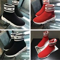 2017 Novo Design Nome Marca Double Box Speed ​​Trainer Boots Mulher Sapatos Flat Classic Superstar Stretch-Knit Ankle Sock Casual Boot Red Black