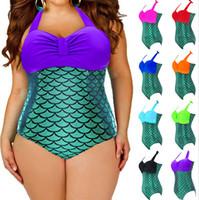 Wholesale Womens Bathing Suits Wholesale - Plus size Swimwear Plus Size Mermaid Fish Scale Bikini High Waist Push Up Swimwear Womens Sexy Bathing Suit Monokini L-3XL D441 1