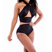 оранжевые черные купальники оптовых-Летние женщины купальники M L XL мода всплывающие повязки сексуальное бикини набор тонкий живот купальник розовый белый черный оранжевый