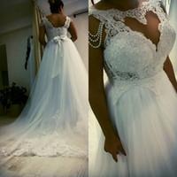 Wholesale Maxi Shop - Modern A-line Plus Size Wedding Dresses Tulle Appliqued Lace 2017 Garden Bridal Gowns Maxi Dress For Big Brides On Line Shop
