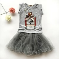 Wholesale Girls Pettiskirt Sets - 2016 fashion girls skirt summer sets,2 pcs white cartoon t-shirt+black pettiskirt lace suits,2 colors baby girls clothes 2-7 year