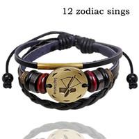 ingrosso braccialetti in rilievo in pelle-Bracciali 12 zodiaco canta gioielli in lega di moda acquario bracciale in pelle casual personalità delle donne in rilievo braccialetto punk vintage b0206