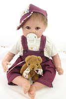 Wholesale Dolls Clothes Bjd - Hand Rooted Blonde Mohair Doll Reborn Brinquedos Silicone Reborn Baby Dolls Baby Alive Boy doll in Burgundy Clothes