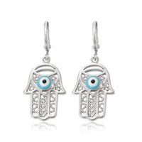 Wholesale Ear Eye - Xuping Hollow Hamas Hand Charm Earrings Mysterious Evil Eye Copper Dangle Ear For Halloween Party Wholesale Decoration Jewelry DH-17-10K0005